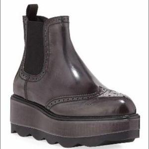 Prada Wingtip Leather Platform Ankle Boots